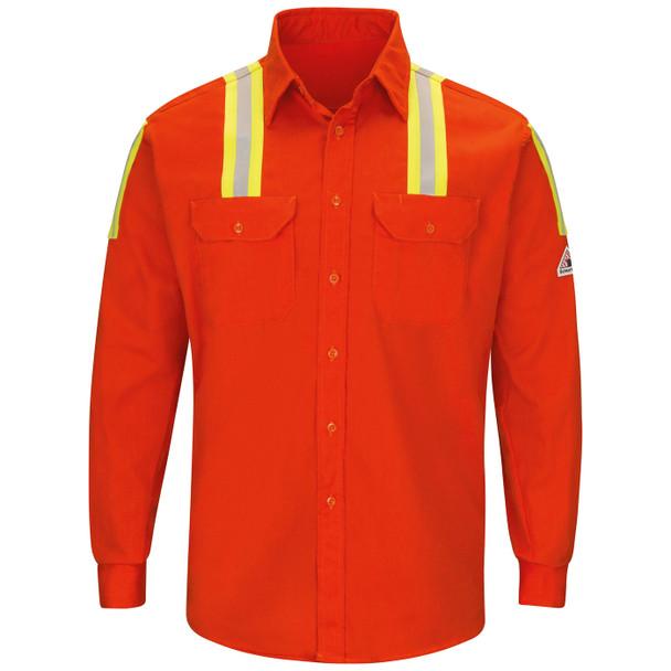 Bulwark FR Enhanced Visibility Two-Tone Orange Long Sleeve Uniform Shirt SLATOR Front