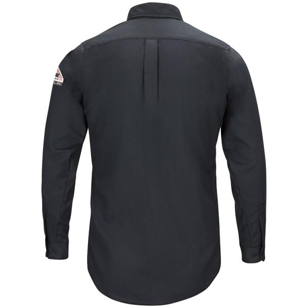 Bulwark FR iQ Long Sleeve Woven Lightweight Navy Shirt QS50NV Back