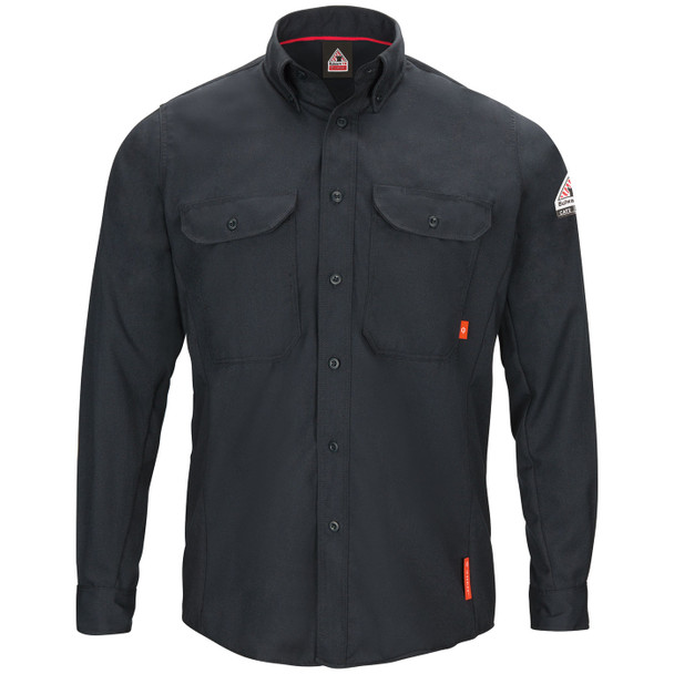 Bulwark FR iQ Long Sleeve Woven Lightweight Navy Shirt QS50NV Front
