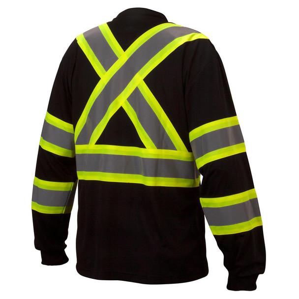 Pyramex Class 1 X-Back Black Long Sleeve Moisture Wicking T-Shirt RCLTS3111 Back
