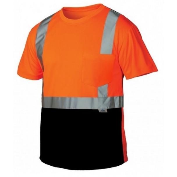 Pyramex Class 2 Hi Vis Orange Black Bottom Moisture Wicking T-Shirt RTS2120B Front