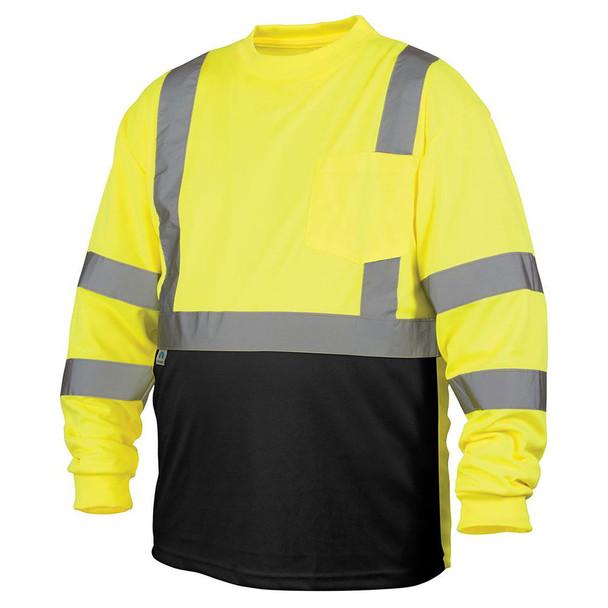 Pyramex Class 3 Hi Vis Lime Black Bottom Moisture Wicking Long Sleeve T-Shirt RLTS3110B Front