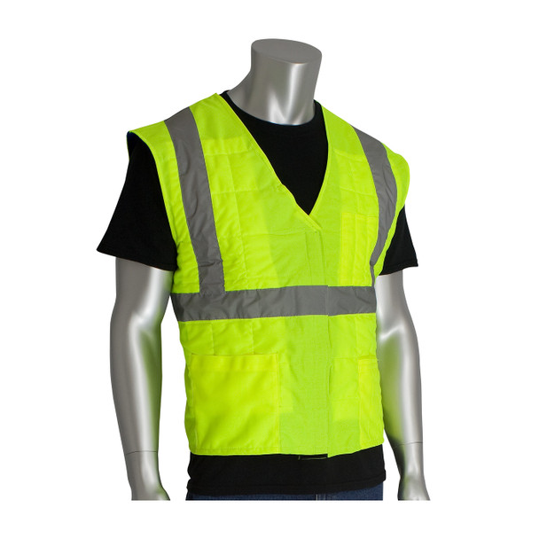 PIP ANSI Hi Vis Class 2 Yellow Cooling Vest 390-EZ202 In Use