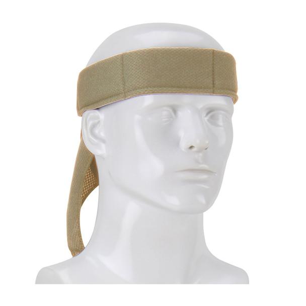 PIP Evaporative Mesh Khaki Cooling Bandana 393-EZ201-KHK Tied Around the Head