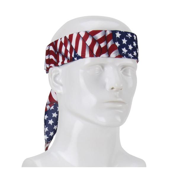 PIP Evaporative Mesh Patriotic Flag Cooling Bandana 393-EZ201-PAT Tied Around the Head