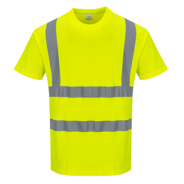 PortWest Class 2 Hi Vis Yellow Cotton Comfort T-Shirt with 35 UPF S170 Front