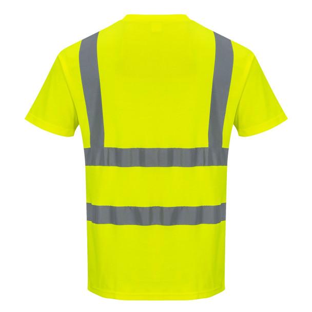 PortWest Class 2 Hi Vis Yellow Cotton Comfort T-Shirt with 35 UPF S170 Back
