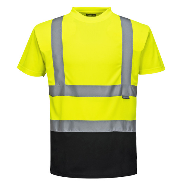PortWest Class 2 Hi Vis Yellow Moisture Wicking Black Bottom T-Shirt with 50 UPF Protection S378YBR Front