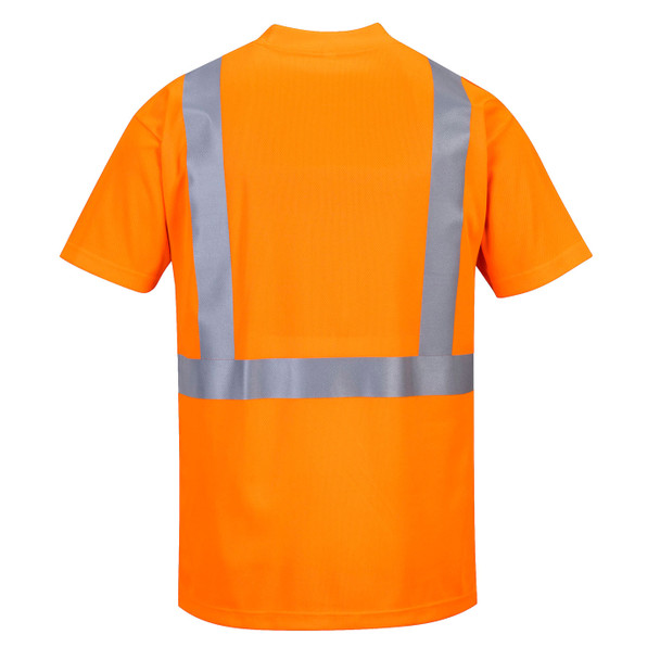 PortWest Class 2 Hi Vis Moisture Wicking T-Shirt with 50 UPF Protection S190 Hi Vis Orange Back