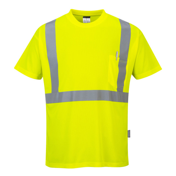 PortWest Class 2 Hi Vis Moisture Wicking T-Shirt with 50 UPF Protection S190 Hi Vis Yellow Front