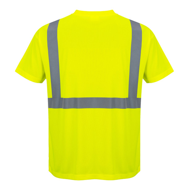 PortWest Class 2 Hi Vis Moisture Wicking T-Shirt with 50 UPF Protection S190 Hi Vis Yellow Back