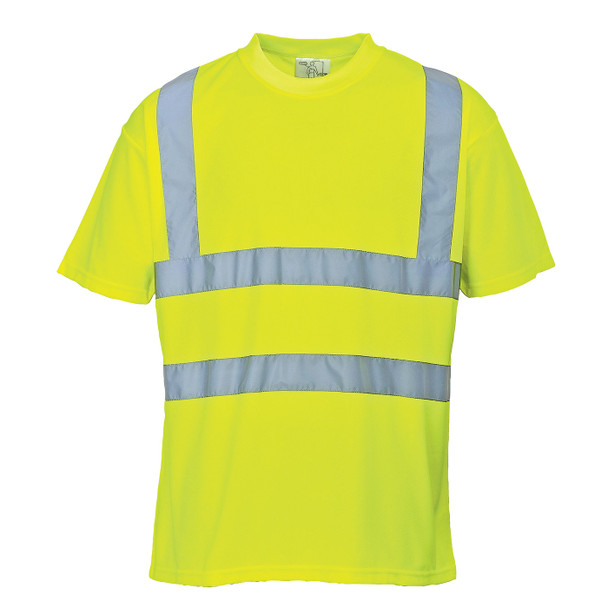 PortWest Class 2 Hi Vis Yellow Moisture Wicking T-Shirt with 50 UPF Protection S478 Front