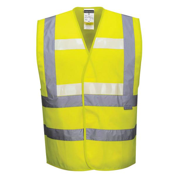 PortWest Class 2 Hi Vis Yellow Glowtex Safety Vest G470 Yellow Front