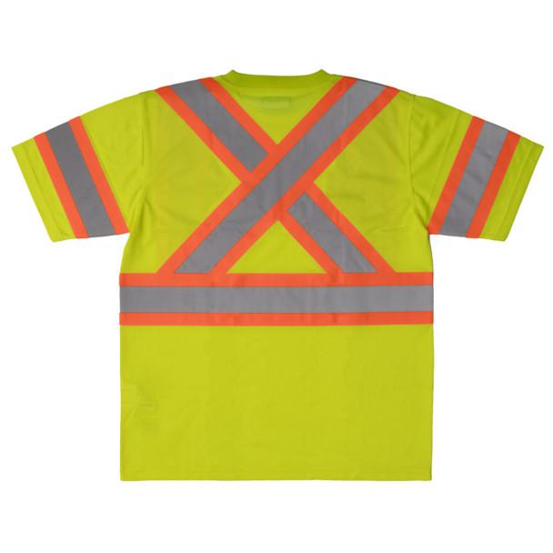 Work King Class 3 Hi Vis X-Back Two-Tone Moisture Wicking T-Shirt ST09 Fluorescent Green Back