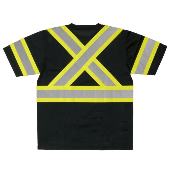 Work King Class 1 X-Back Two-Tone Black Moisture Wicking T-Shirt ST091-BLK Back