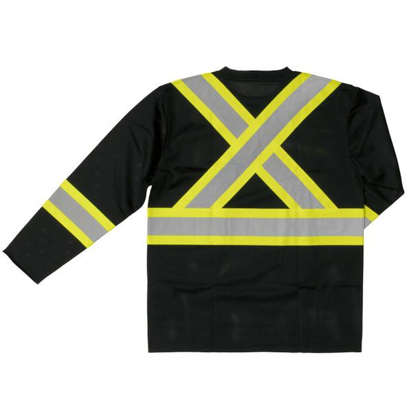 Work King Class 1 X-Back Two-Tone Moisture Wicking Long Sleeve T-Shirt ST10-BLK Back