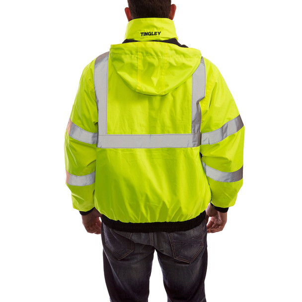 Tingley Class 3 Hi Vis Yellow Black Bottom 3-in-1 Bomber Jacket J26172 Back of Jacket with Hood