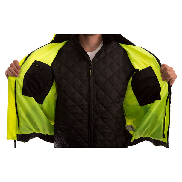 Tingley Class 3 Hi Vis Yellow Black Bottom 3-in-1 Bomber Jacket J26172 Inside of Jacket