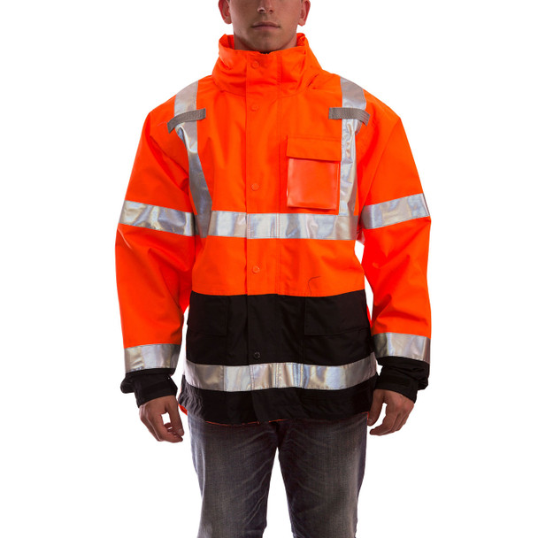 Tingley Class 3 Hi Vis Orange Black Bottom Icon Jacket J24129 Front