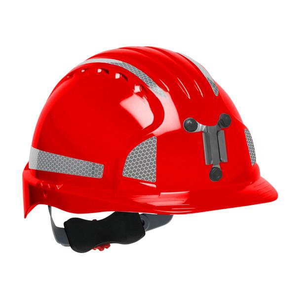 PIP Evolution Deluxe 6151 Standard Brim Mining Hard Hat with Reflective Kit 280-EV6151MCR2 Red