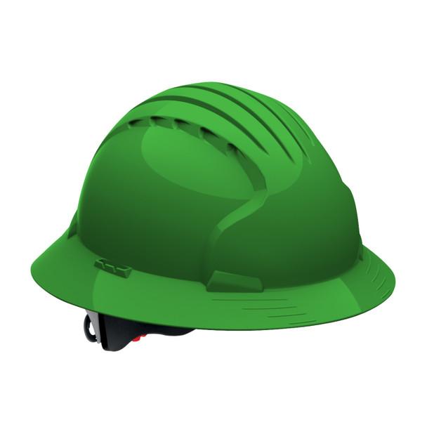PIP Class C Vented Full Brim Hard Hat with 6-Point Ratchet Adjusment 280-EV6161V Green
