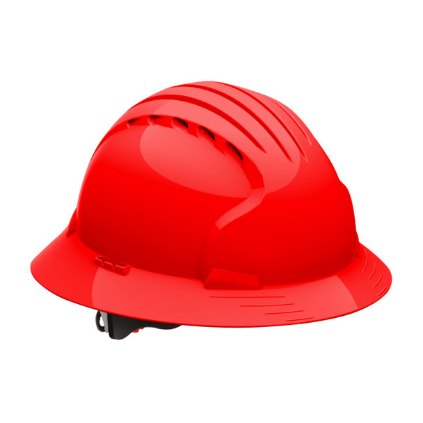 PIP Class C Vented Full Brim Hard Hat with 6-Point Ratchet Adjusment 280-EV6161V Red