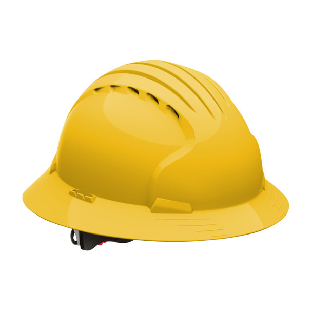 PIP Class C Vented Full Brim Hard Hat with 6-Point Ratchet Adjusment 280-EV6161V Yellow
