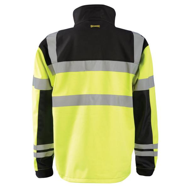 Occunomix Class 3 Hi Vis Yellow Soft Shell Jacket with Black Trim LUX-M6JKT Back