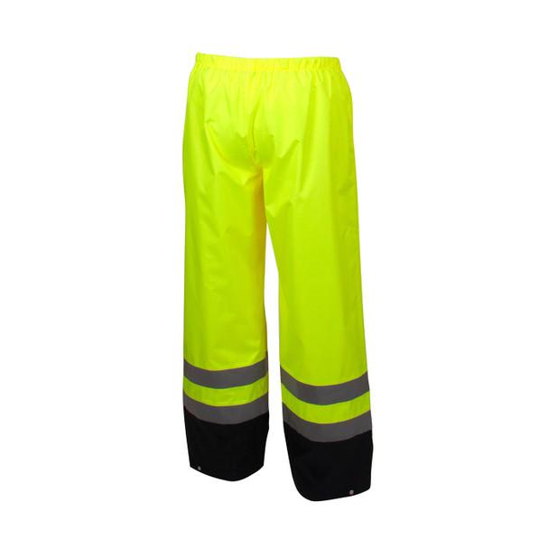 Pyramex Class E Hi Vis Lime Black Bottom Trim Rain Pants RRWP3110 Back
