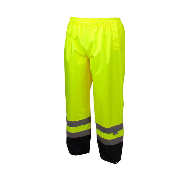 Pyramex Class E Hi Vis Lime Black Bottom Trim Rain Pants RRWP3110 Front