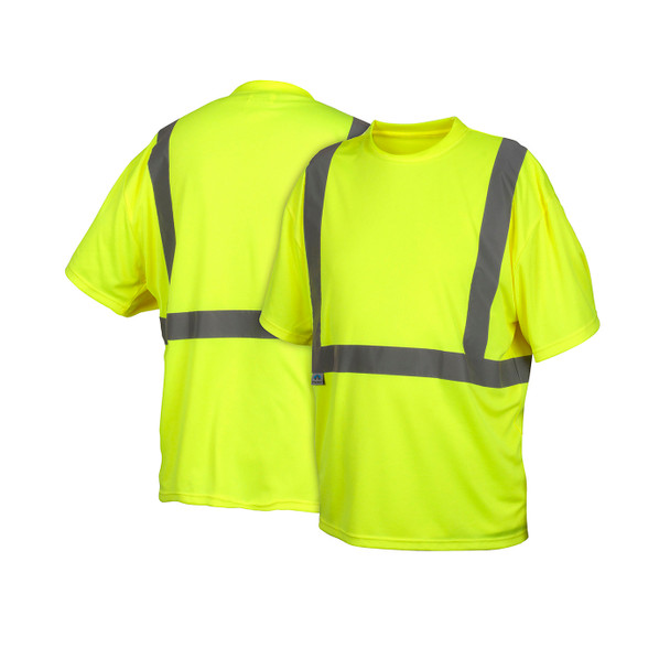 Pyramex Class 2 Hi Vis Lime Moisture Wicking T-Shirt RTS2110NP Front/Back