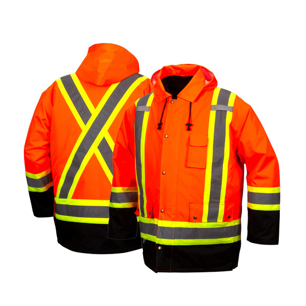 Pyramex Class 3 Hi Vis Orange Two-Tone X-Back Black Bottom Trim 7-in-1 Parka RC7P3520 Front/Back