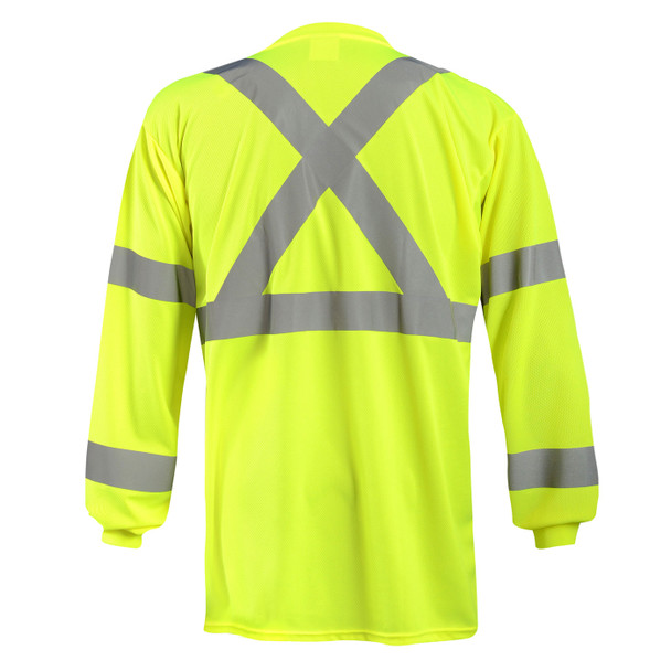 Occunomix Class 3 Hi Vis X-Back Moisture Wicking Long Sleeve T-Shirt with Pocket LUX-LSTP3BX Yellow Back