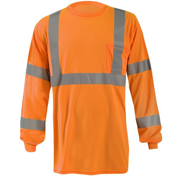 Occunomix Class 3 Hi Vis X-Back Moisture Wicking Long Sleeve T-Shirt with Pocket LUX-LSTP3BX Orange Front