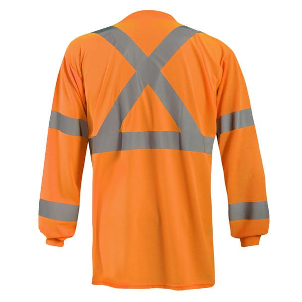 Occunomix Class 3 Hi Vis X-Back Moisture Wicking Long Sleeve T-Shirt with Pocket LUX-LSTP3BX Orange Back