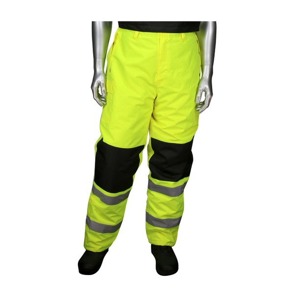 PIP Class E Hi Vis Yellow Insulated Bib Pants with Black Trim 318-1775 Close Up