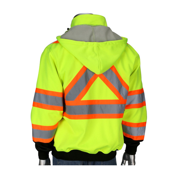 PIP Class 3 Hi Vis X-Back Two-Tone Black Bottom Full Zip Fleece Sweatshirt 323-1475X with Hood Down
