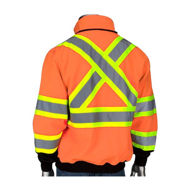 PIP Class 3 Hi Vis X-Back Two-Tone Black Bottom Full Zip Fleece Sweatshirt 323-1475X Back