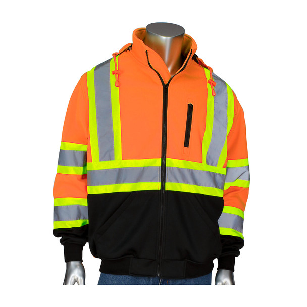 PIP Class 3 Hi Vis X-Back Two-Tone Black Bottom Full Zip Fleece Sweatshirt 323-1475X Front