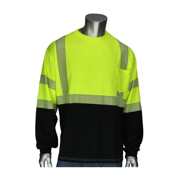 PIP Class 3 Hi Vis Yellow Black Bottom Long Sleeve T-Shirt with Segmented Tape 313-1280B Front