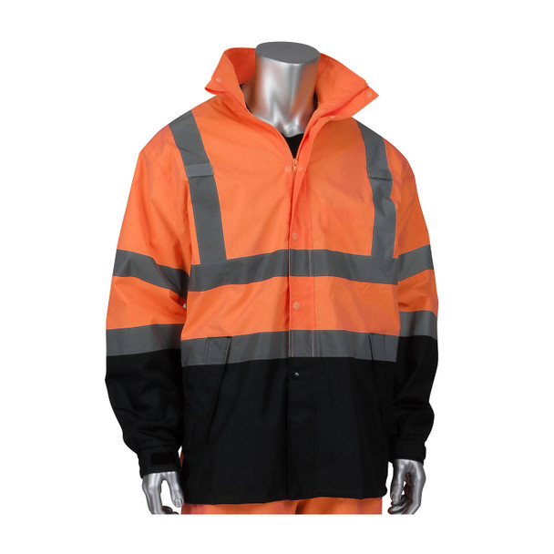 PIP Class 3 Hi Vis Ripstop Black Bottom Rain Jacket 353-1200 Orange