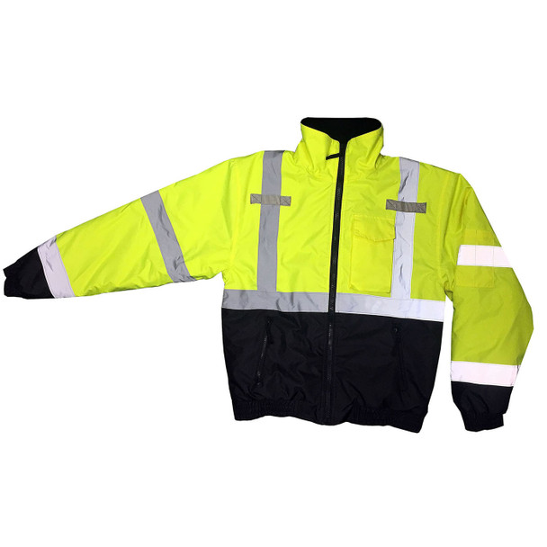 Radians Class 3 Hi Vis Black Bottom Quilted Bomber Jacket SJ11QB Green with Extended Sleeve