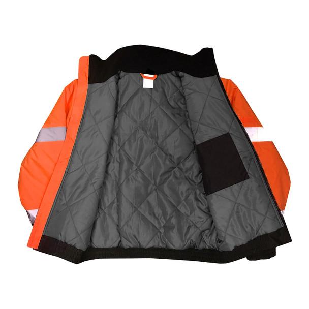 Radians Class 3 Hi Vis Black Bottom Quilted Bomber Jacket SJ11QB Orange Inside