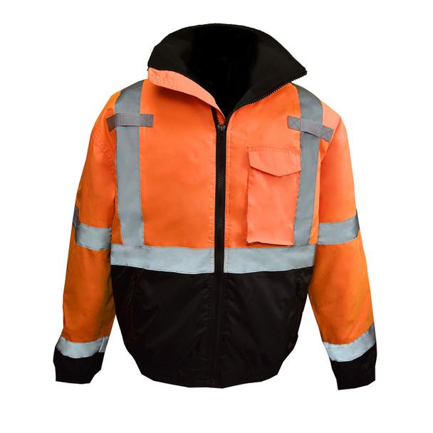 Radians Class 3 Hi Vis Black Bottom Quilted Bomber Jacket SJ11QB Orange Front