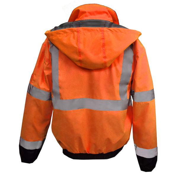 Radians Class 3 Hi Vis Black Bottom Quilted Bomber Jacket SJ11QB Orange Back