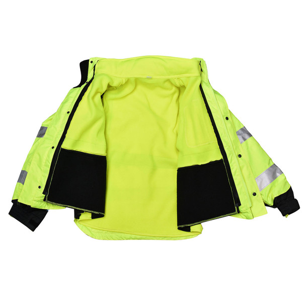 Radians Class 3 Hi Vis Green Black Bottom Hooded Sweatshirt SJ32-3ZGS Inside