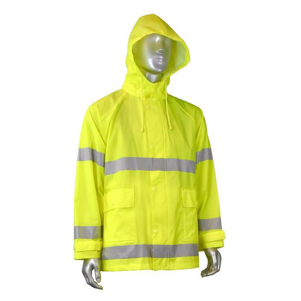 Radians Class 3 Hi Vis Green Rain Jacket RW25J-3ZGV Front with Hood