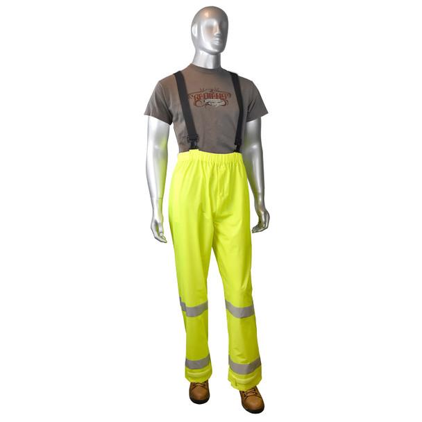 Radians Class E Hi Vis Green Rain Pants RW25P-EZGV Front