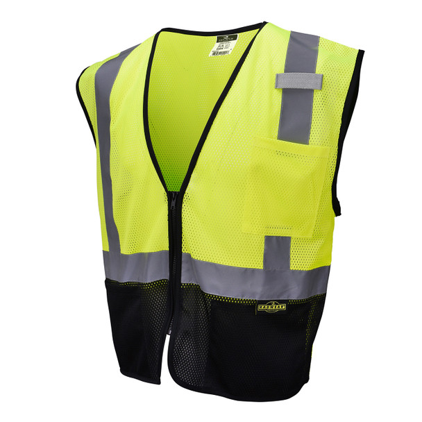 Radians Class 2 Hi Vis Green Black Bottom Economy Mesh Safety Vest SV3B-2ZGM Front