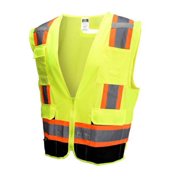 Radians Class 2 Hi Vis Green Black Bottom Two-Tone Surveyor Safety Vest SV6B-2ZGD Front